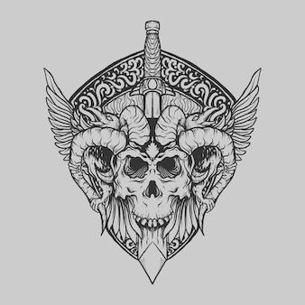 Tatuaggio e t-shirt design teschio del diavolo disegnato a mano in bianco e nero con ornamento di incisione di corvo di spada