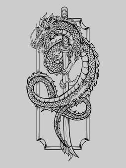 Tatuaggio e t-shirt design in bianco e nero disegnato a mano drago katana