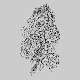 Tatuaggio e t-shirt design drago e rosa disegnati a mano in bianco e nero
