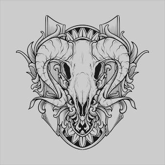 Tatuaggio e t-shirt design ornamento di incisione teschio di capra disegnato a mano in bianco e nero