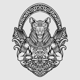 Tatuaggio e t-shirt design in bianco e nero disegnato a mano dea sekhmet incisione ornamento