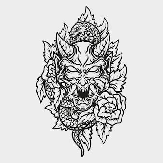 Tatuaggio e t-shirt design in bianco e nero disegnati a mano maschera hannya e rose ha
