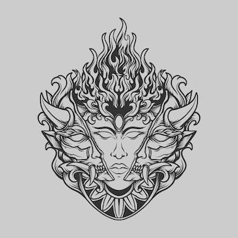 Tatuaggio e t-shirt design in bianco e nero disegnato a mano umano con maschera oni incisione ornamento