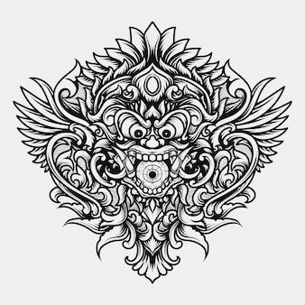 Disegno del tatuaggio e t-shirt in bianco e nero illustrazione disegnata a mano creatura barong testa di mostro incisione ornamento