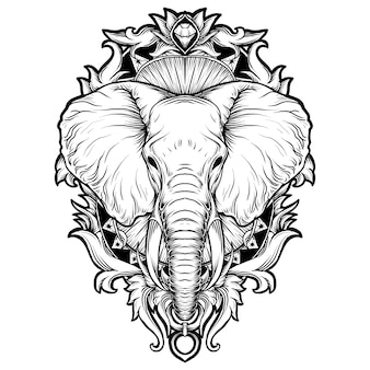 Disegno del tatuaggio e t-shirt illustrazione disegnata a mano in bianco e nero ornamento incisione elefante
