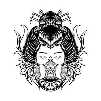 Tatuaggio e t-shirt design in bianco e nero illustrazione disegnata a mano geisha con incisione maschera antigas