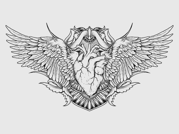 Disegno del tatuaggio e t-shirt in bianco e nero illustrazione disegnata a mano cuore e ala incisione ornamento