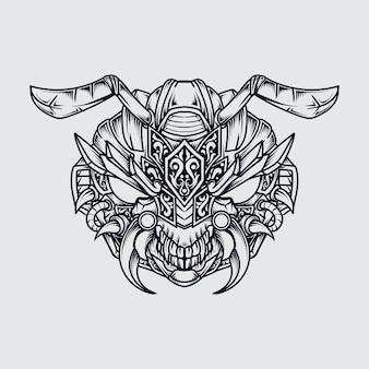 Tatuaggio e t-shirt design in bianco e nero illustrazione disegnata a mano mostro formica testa incisione ornamento
