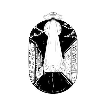 Disegno del tatuaggio e t-shirt in bianco e nero illustrazione disegnata a mano alieno esterno ufo in città