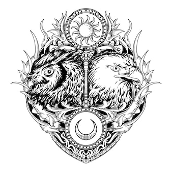 Disegno del tatuaggio e t-shirt illustrazione disegnata a mano in bianco e nero gufo e ornamento incisione aquila
