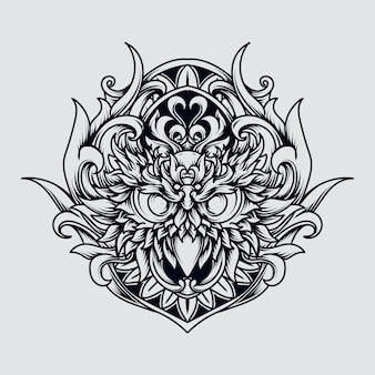 Disegno del tatuaggio e t-shirt illustrazione disegnata a mano in bianco e nero ornamento dell'incisione del gufo