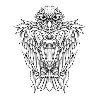 Disegno del tatuaggio e t-shirt illustrazione disegnata a mano in bianco e nero gufo e lanterna