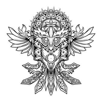 Disegno del tatuaggio e t-shirt in bianco e nero illustrazione disegnata a mano ornamento del gufo