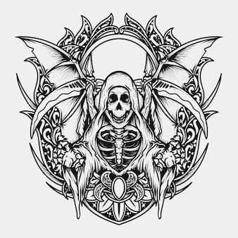 Tatuaggio e t-shirt design in bianco e nero illustrazione disegnata a mano mietitore incisione ornamento