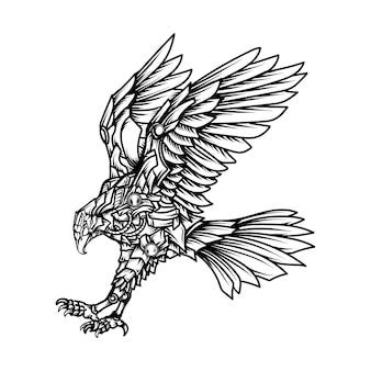 Disegno del tatuaggio e t-shirt in bianco e nero illustrazione disegnata a mano robot aquila