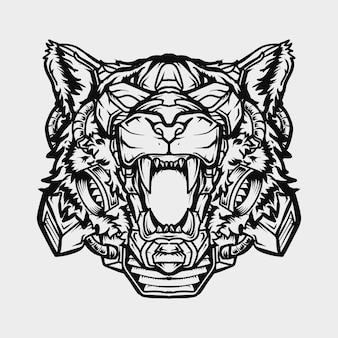 Disegno del tatuaggio e t-shirt in bianco e nero illustrazione disegnata a mano robot testa di tigre