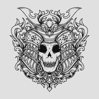 Disegno del tatuaggio e t-shirt illustrazione disegnata a mano in bianco e nero ornamento incisione del cranio del samurai