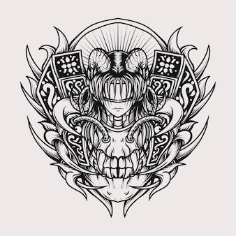 Disegno del tatuaggio e t-shirt in bianco e nero illustrazione disegnata a mano donne del cranio e del diavolo incisione ornamento