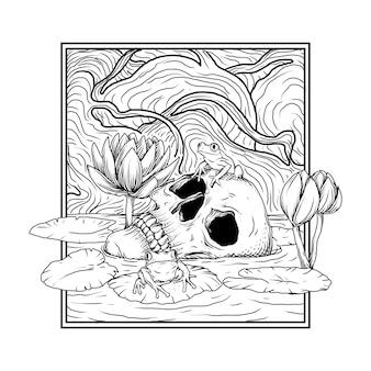 Disegno del tatuaggio e t-shirt illustrazione disegnata a mano in bianco e nero rana del cranio e loto