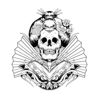 Tatuaggio e t-shirt design illustrazione disegnata a mano in bianco e nero geisha del cranio