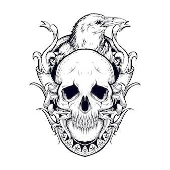Disegno del tatuaggio e t-shirt illustrazione disegnata a mano in bianco e nero incisione del cranio e del corvo