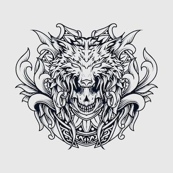 Disegno del tatuaggio e t-shirt in bianco e nero illustrazione disegnata a mano ornamento incisione teschio e lupo