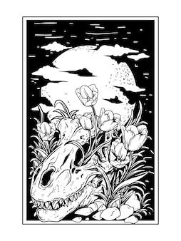 Tatuaggio e t-shirt design illustrazione disegnata a mano in bianco e nero teschio t-rex con fiori di giglio con sfondo di luna Vettore Premium