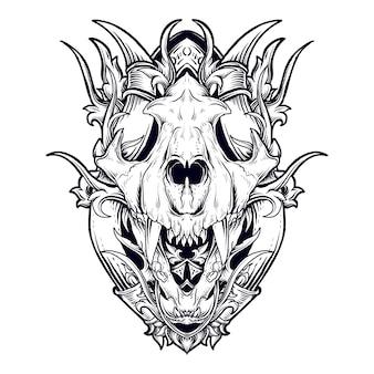 Disegno del tatuaggio e t-shirt illustrazione disegnata a mano in bianco e nero ornamento dell'incisione del cranio della tigre