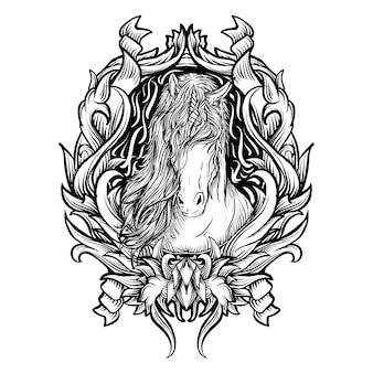 Tatuaggio e t-shirt design illustrazione disegnata a mano in bianco e nero