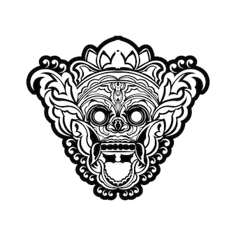 Tatuaggio e t-shirt design maschera oni disegnata a mano in bianco e nero in cornice incisione ornamento vettore premium