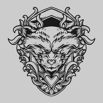 Tatuaggio e t-shirt design ornamento di incisione di procione disegnato a mano in bianco e nero