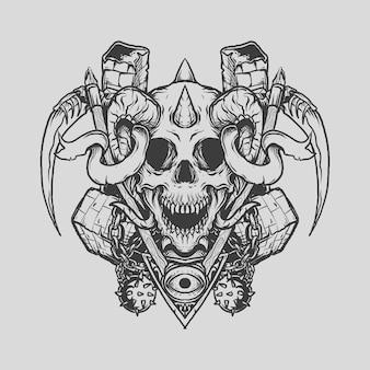 Tatuaggio e t-shirt design teschio mietitore disegnato a mano in bianco e nero dall'inferno