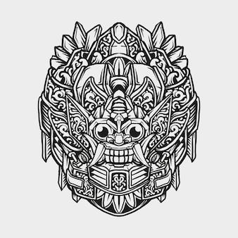 Tatuaggio e t-shirt design in bianco e nero disegnato a mano robot barong incisione ornamento