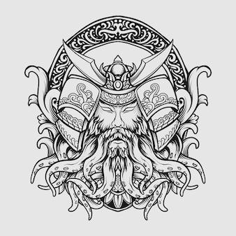 Tatuaggio e t-shirt design in bianco e nero disegnato a mano polpo samurai incisione ornamento