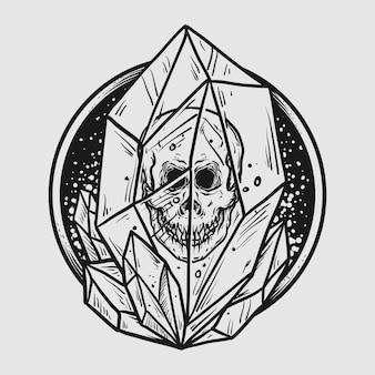 Tatuaggio e t-shirt design teschio disegnato a mano in bianco e nero in pietra di cristallo