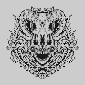 Tatuaggio e t-shirt design teschio disegnato a mano in bianco e nero e teschio di capra