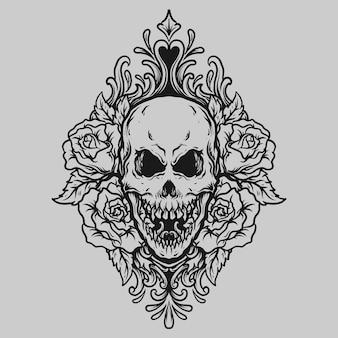 Tatuaggio e t-shirt design teschio disegnato a mano in bianco e nero e ornamento per incisione di rose