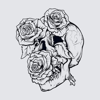 Tatuaggio e t-shirt design teschio e rose disegnati a mano in bianco e nero