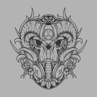 Tatuaggio e t-shirt design teschio disegnato a mano in bianco e nero con ornamento incisione maschera antigas