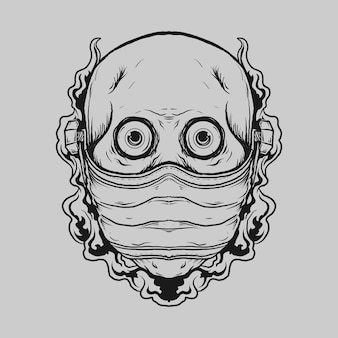 Tatuaggio e t-shirt design teschio disegnato a mano in bianco e nero con maschera