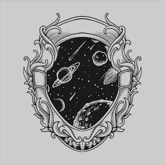 Tatuaggio e t-shirt design ornamento di incisione spaziale disegnato a mano in bianco e nero