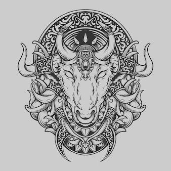 Tatuaggio e t-shirt design in bianco e nero disegnato a mano toro testa di toro incisione ornamento