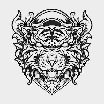 Tatuaggio e t-shirt design ornamento incisione testa di tigre disegnata a mano in bianco e nero