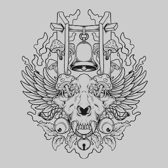 Tatuaggio e t-shirt design teschio di tigre disegnato a mano in bianco e nero con fungo e campana