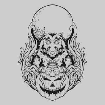 Tatuaggio e t-shirt design in bianco e nero disegnato a mano lupo mannaro bere caffè