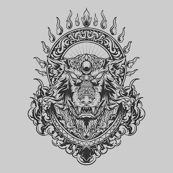Tatuaggio e t-shirt design ornamento incisione lupo disegnato a mano in bianco e nero