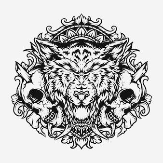 Disegno del tatuaggio e della maglietta ornamento in bianco e nero disegnato a mano del lupo e dell'incisione del cranio