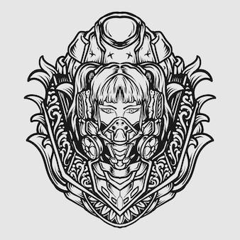 Tatuaggio e t-shirt design donne disegnate a mano in bianco e nero con maschera antigas cyber punk
