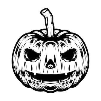 Illustrazione della zucca in bianco e nero di disegno della maglietta e del tatuaggio