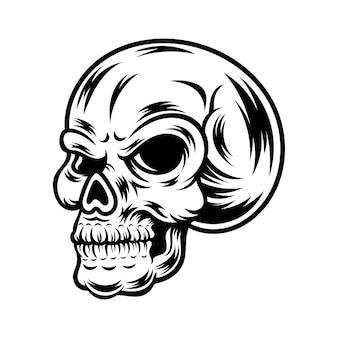 Tatuaggio e t-shirt design in bianco e nero illustrazione del cranio